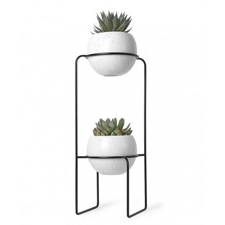 Etagere Porte Plantes Design Metal Noir 2 Pots En