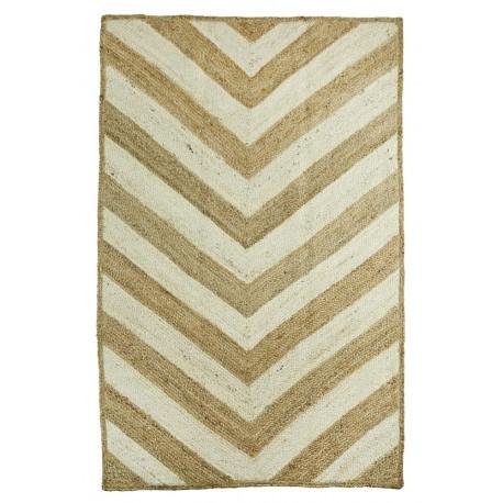 madam stoltz tapis jute bicolore naturel ecru avec motifs jer3152 kdesign