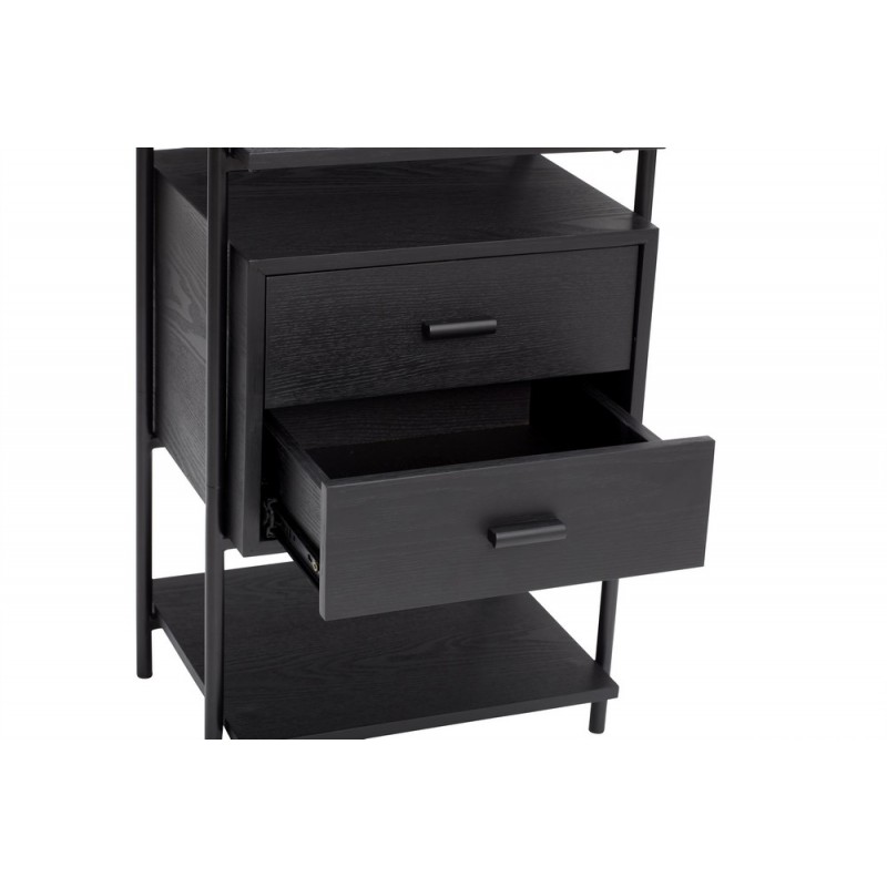 hubsch table de chevet design noire bois metal 2 tiroirs kdesign