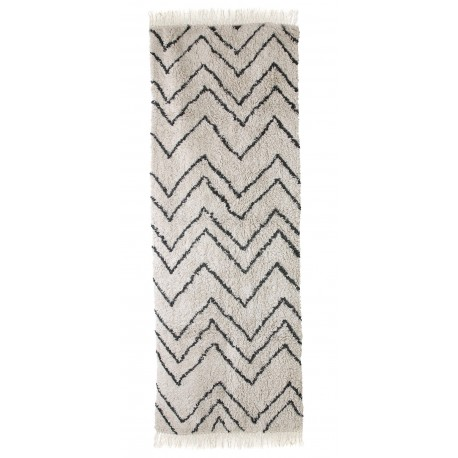hk living tapis de couloir style berbere motif zig zag noir blanc kdesign
