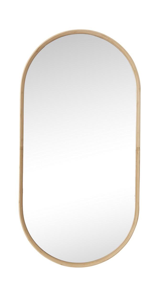 hubsch miroir mural ovale cadre bois de bambou style scandinave kdesign