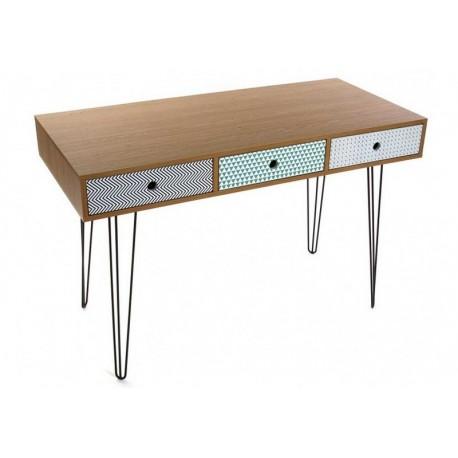 table de bureau design scandinave 3 tiroirs multicolores versa 21090003