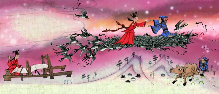 Jingnyeo y Gyeonu, el Romeo y Julieta de Corea. Litografía del mito del Chilseok