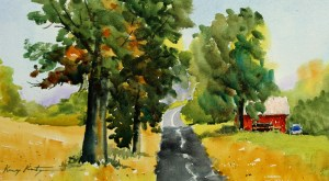 "Hillcrest Road $250 14"" x 22"" watercolor"