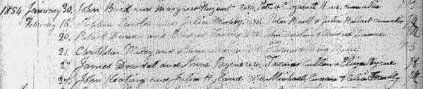 1854 February 27. John Keating and Julia Hyland. W.w. Michael Curran & Celia Fennelly