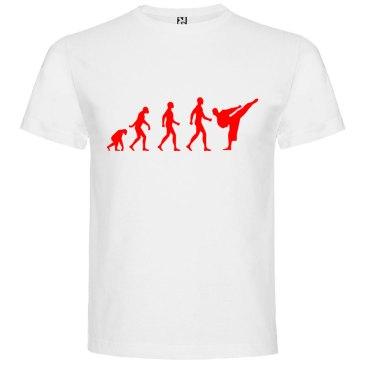 Camiseta hombre evolución karate Blanca logo Rojo