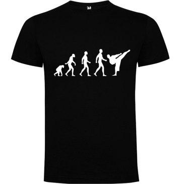 Camiseta hombre evolución karate Negra logo Blanco