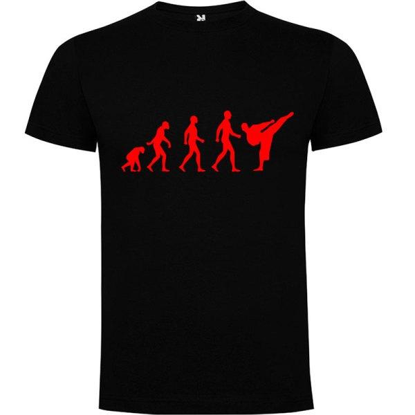 Camiseta hombre evolución karate Negra logo Rojo