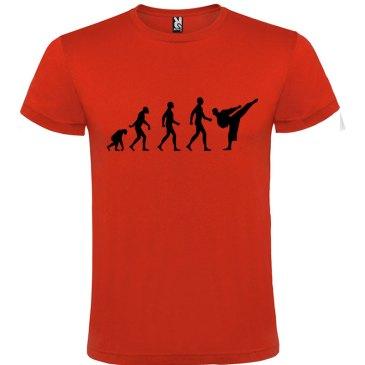 Camiseta hombre evolución karate Roja logo Negro