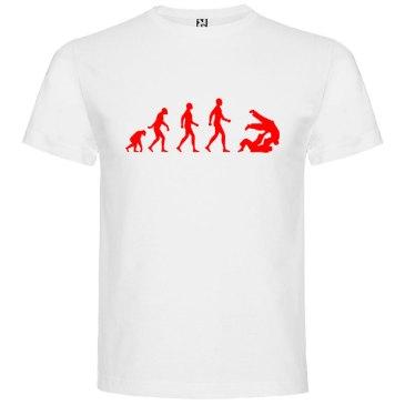 Camiseta hombre evolución taekwondo Blanca logo Rojo