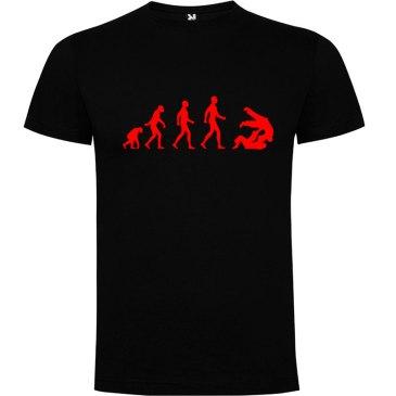 Camiseta hombre evolución taekwondo Negro logo Rojo
