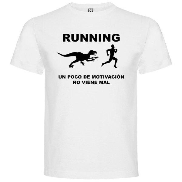 Camiseta RUNNING Hombre color Blanco logo Negro