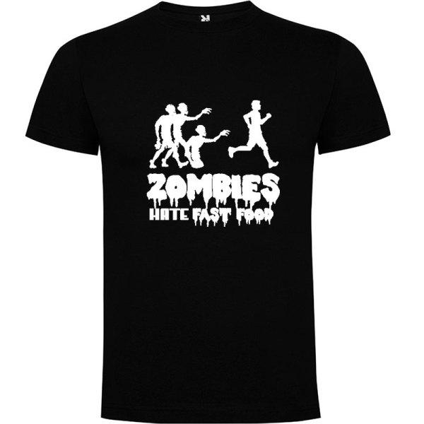 Camiseta para hombre divertida zombies odian la comida rápida en color negro
