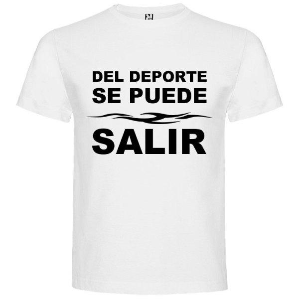 Camiseta divertida del deporte se sale para hombre color blanco logo Negro