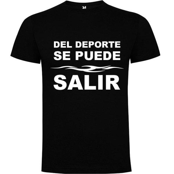 Camiseta divertida del deporte se sale para hombre color Negro logo Blanco