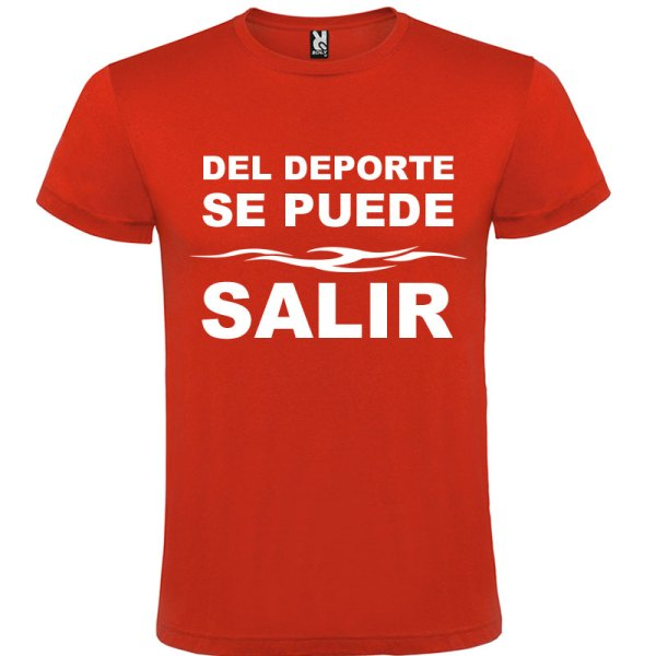 Camiseta divertida del deporte se sale para hombre color Rojo logo Blanco
