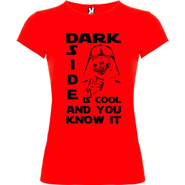 Camiseta mujer Dark side is cool and you know it en color rojo