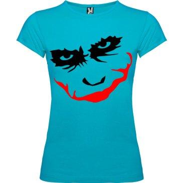 Camiseta manga corta para mujer Joker Smile en Color Turquesa