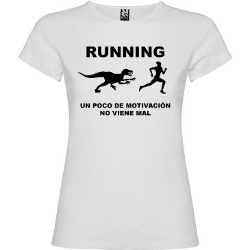 Camiseta RUNNING Mujer color Blanco logo Negro