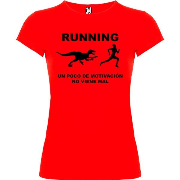 Camiseta RUNNING Mujer color Rojo logo Negro