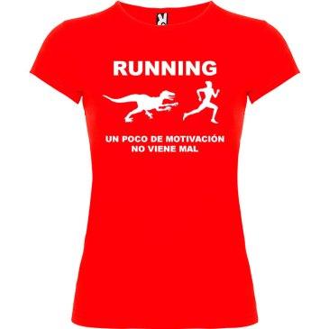 Camiseta RUNNING Mujer color Rojo logo Blanco