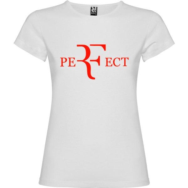 Camiseta para mujer perfect en color blanco y logo en rojo