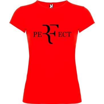 Camiseta para mujer perfect en color rojo y logo en negro