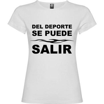 Camiseta divertida del deporte se sale para Mujer color Blanco logo Negro