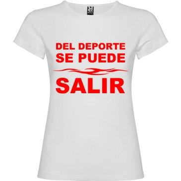 Camiseta divertida del deporte se sale para Mujer color Blanco logo Rojo