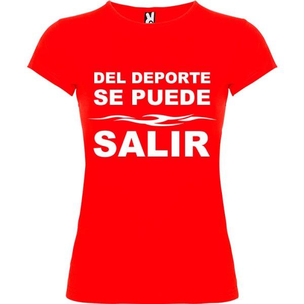 Camiseta divertida del deporte se sale para Mujer color Rojo logo Blanco