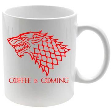 Taza coffee is coming en rojo detalle izquierdaTaza coffee is coming en rojo detalle derecha