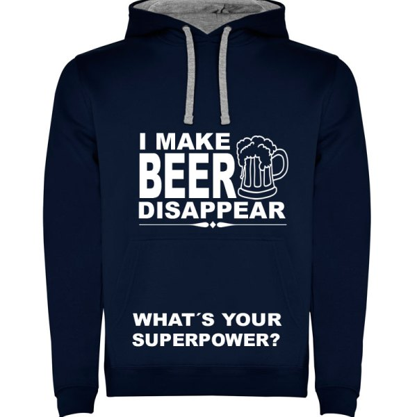 Sudadera para hombre divertida I Make Beer Disappear What´s Your Superpower? color Azul Marino