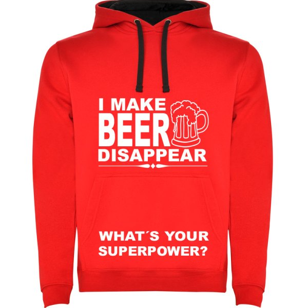 Sudadera para hombre divertida I Make Beer Disappear What´s Your Superpower? color Rojo