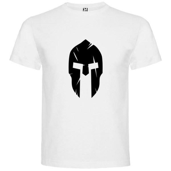 Camiseta Casco Espartano para hombre manga corta en blanco