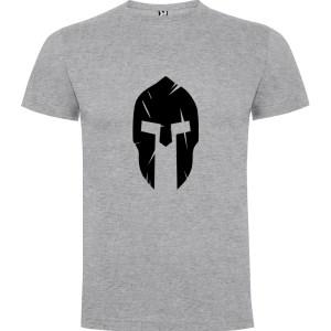 Camiseta Casco Espartano para hombre manga corta en gris