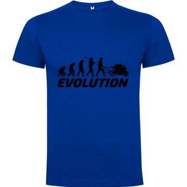 Camiseta para hombre evolución hombre motero en Azul royal