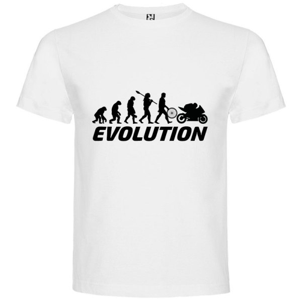 Camiseta para hombre evolución hombre motero en Blanco