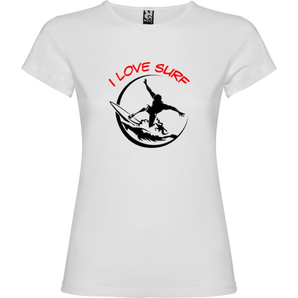 Camiseta surfera para mujer I Love Surf en color Blanco