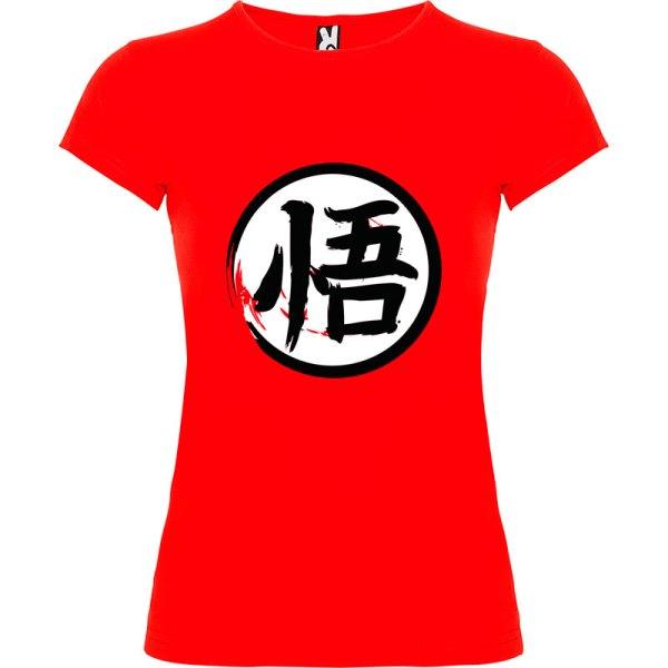Camiseta para mujer Dragón Ball kanji Go en color Rojo