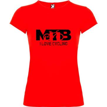 Camiseta para mujer MTB I Love Cycling en color Rojo