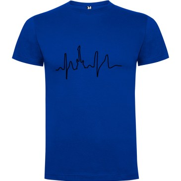 Camiseta para hombre manga corta I Live Rock en color Azul royal