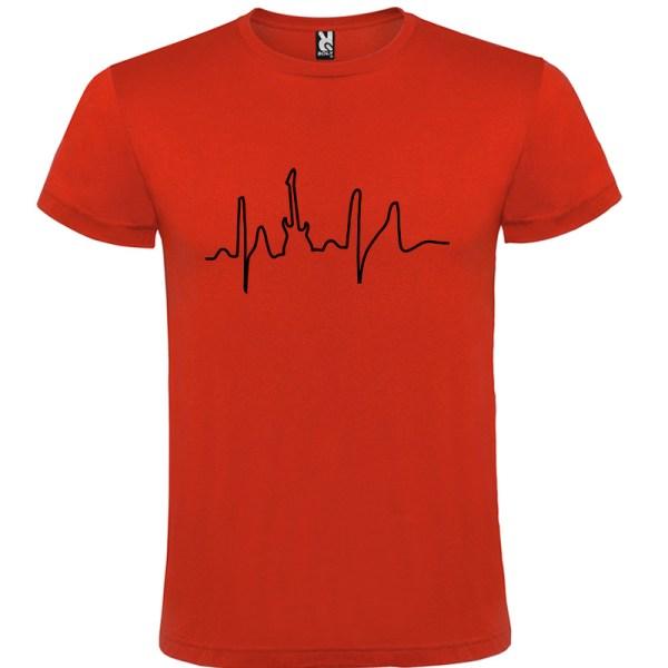 Camiseta para hombre manga corta I Live Rock en color Rojo