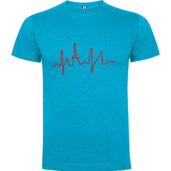 Camiseta para hombre manga corta I Live Rock en color Turquesa