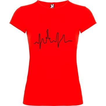 Camiseta para mujer I Live Rock nn color Rojo