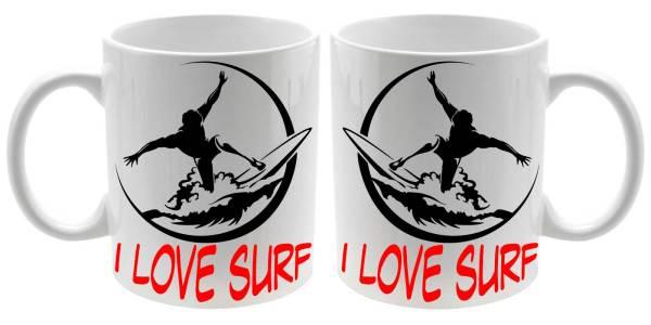 Taza cerámica balnca I Love Surf para los surferos