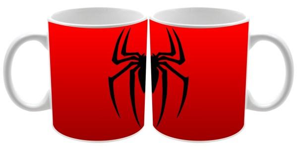 Taza cerámica fondo rojo logo Spider man
