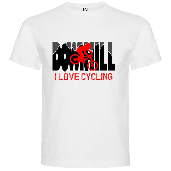 Downhill Camiseta I Love Cycling en color blanco detalle biker en rojo
