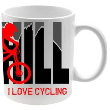 Downhill Taza Cerámica I Love Cycling logo ciclista en rojo