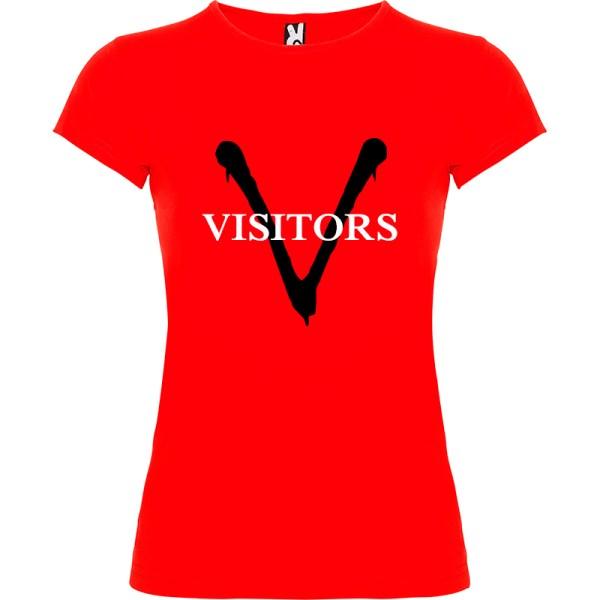Camiseta para mujer serie tv V visitantes en rojo logo negro