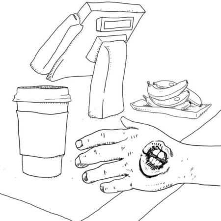 a hand reaching for a coffee. the hand has a grotesque mouth with puckered lips on it.